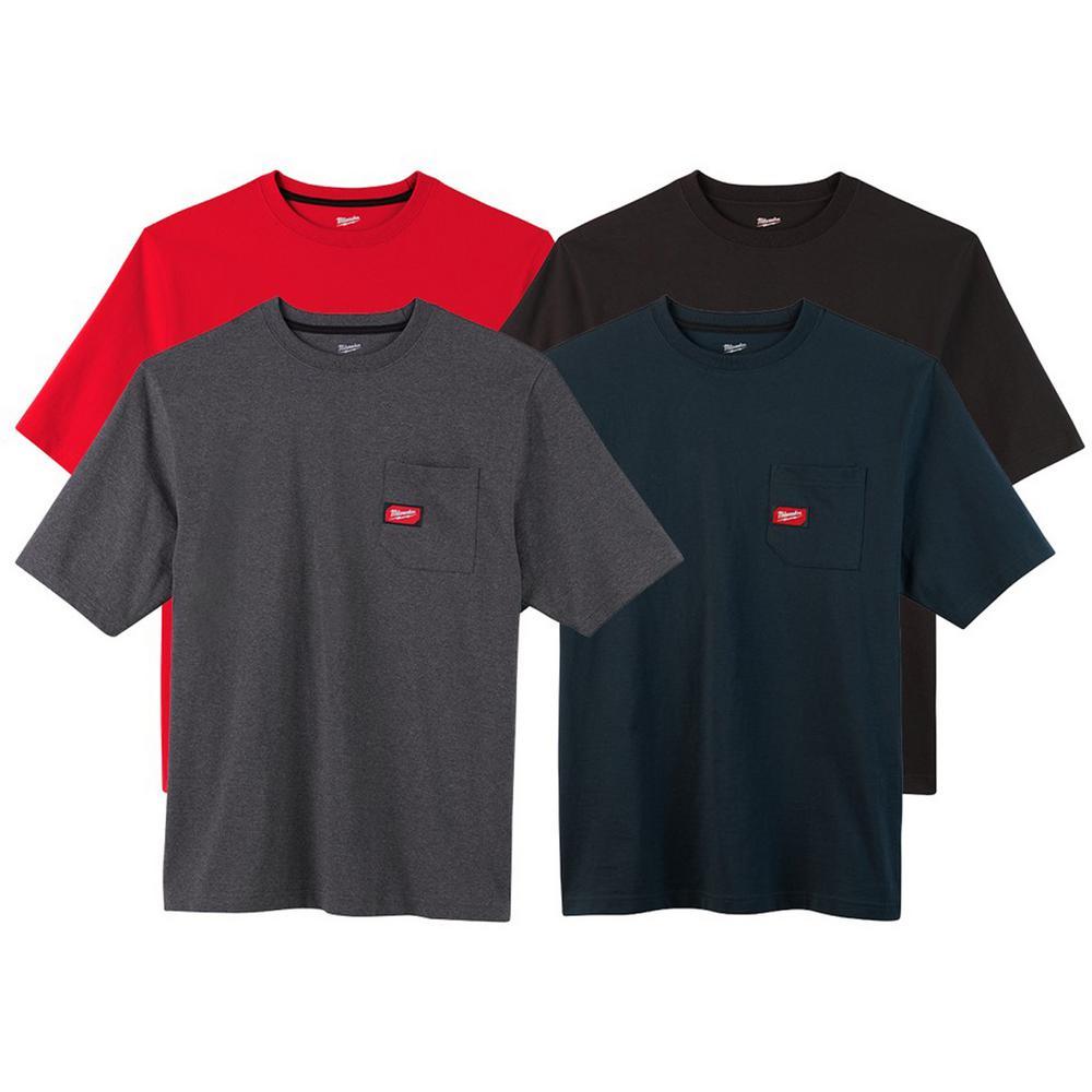 Men's 3X-Large Multi-Color Heavy-Duty Cotton/Polyester Short-Sleeve Pocket T-Shirt (4-Pack)
