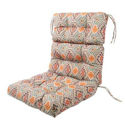 Orange Aztec Rectangle Outdoor Dining Chair Seat Cushion