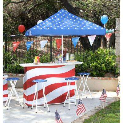 Patriotic L-Shaped 6-Piece All-Weather Patio Bar Set with 6 ft. Umbrella