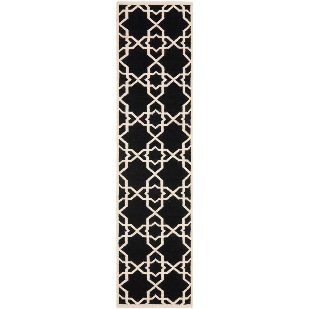 Dhurries Black/Ivory 2 ft. 6 in. x 6 ft. Runner
