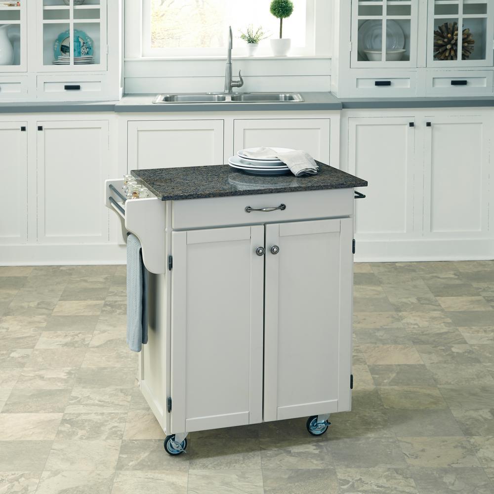 Cuisine Cart Black Kitchen Cart With Quartz Top