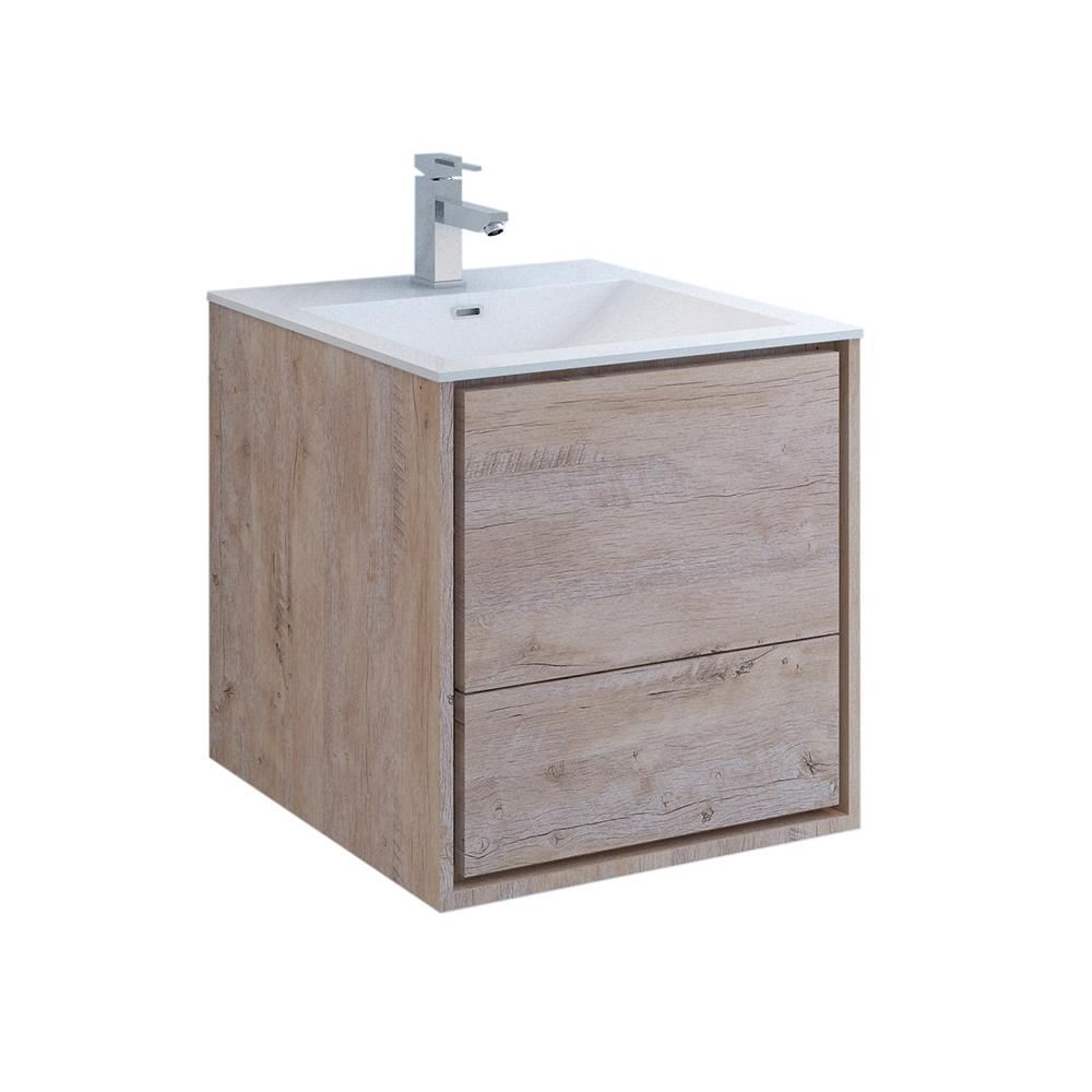 Fresca Catania 24 in. Modern Wall Hung Bath Vanity in Rustic Natural Wood with Vanity Top in White with White Basin