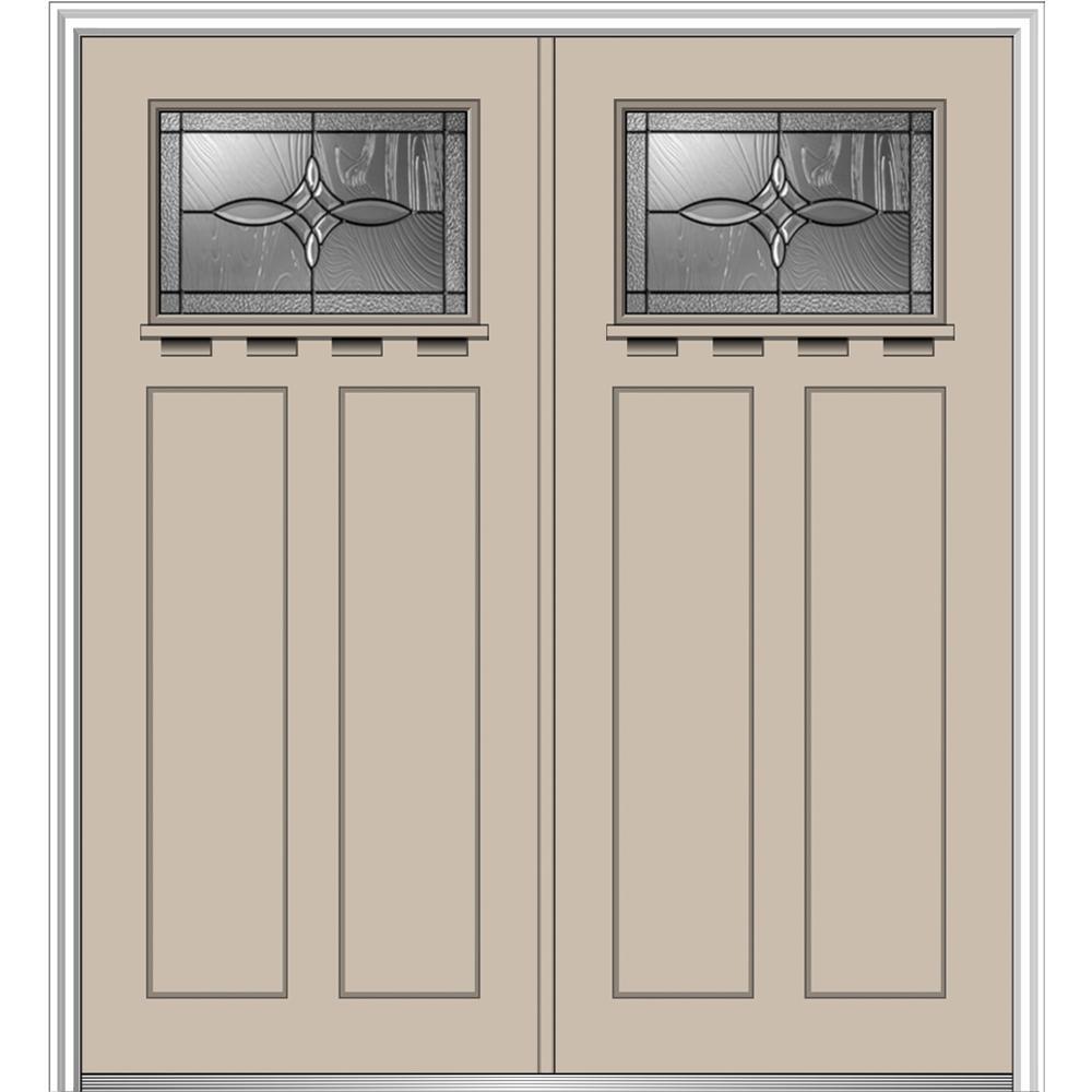 64 in. x 80 in. Lenora Left-Hand Inswing 1/4-Lite Decorative Painted Fiberglass Smooth Prehung Front Door with Shelf