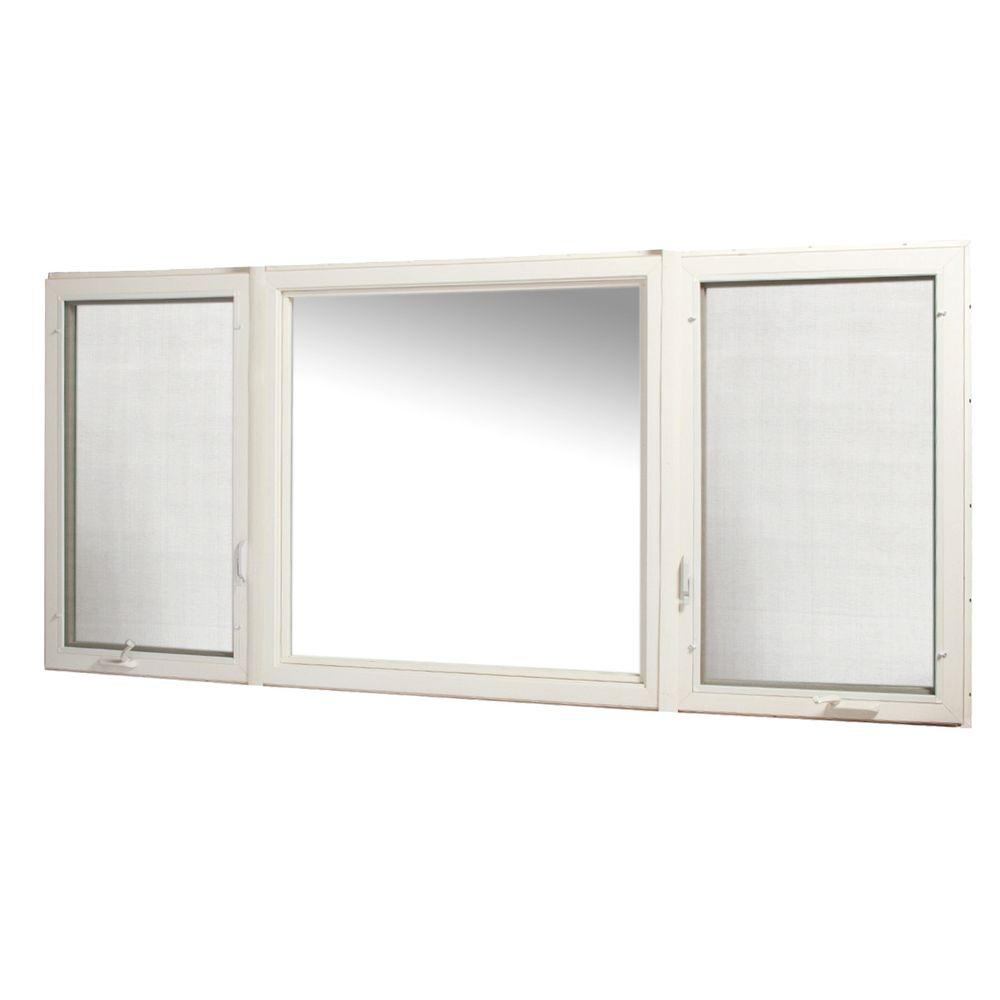 TAFCO WINDOWS 107 in. x 48 in. Vinyl Casement Window with Screen - White