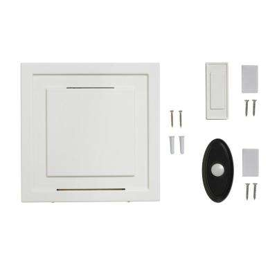White 85 dB Wireless Battery Operated Door Bell Kit with 1-Push Button with Black Wireless Door Bell Push Button