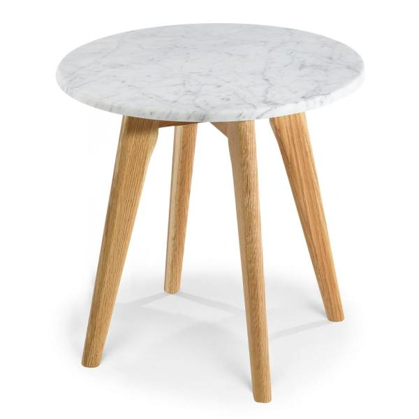 Poly And Bark Riley White Oak Marble Round Side Table Hd 336 Nat