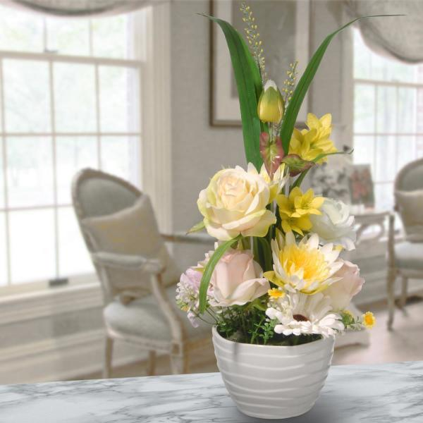 Potted Daisies and Roses