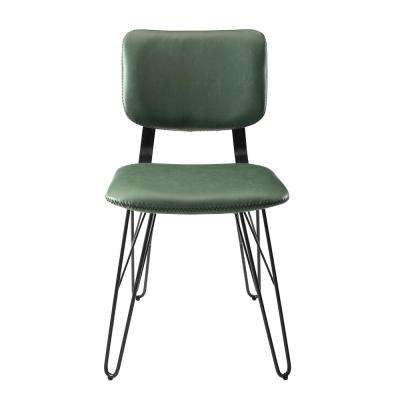 Flax Back Green Accent Dining Chair with Black Stitching (2-Pack)