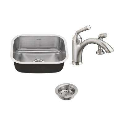 Portsmouth All-in-One Undermount Stainless Steel 23 in. Single Bowl Kitchen Sink with faucet in Stainless Steel