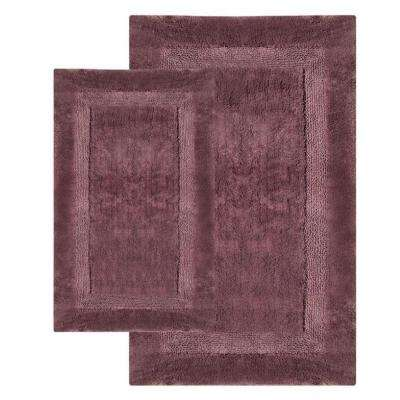 Olympia Amethyst 21 in. x 34 in. and 24 in. x 40 in. 2-Piece Bath Rug Set