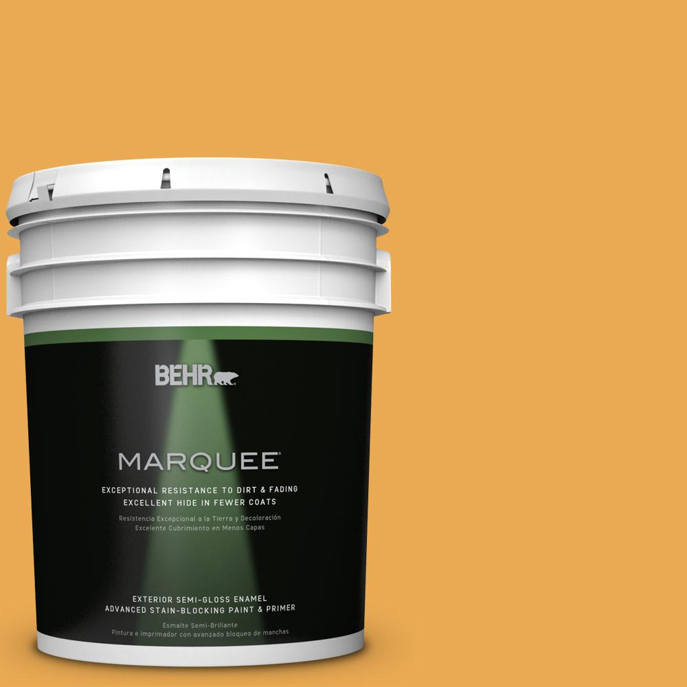 BEHR MARQUEE 5-gal. #BIC-43 Optimist Gold Semi-Gloss Enamel Exterior Paint