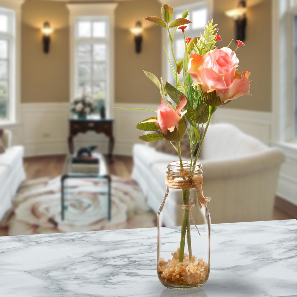 Pink Rose Arrangement in Glass Vase