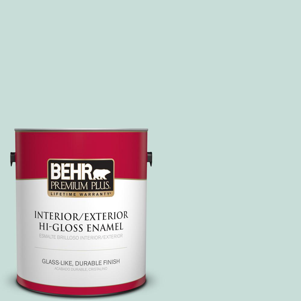 1 gal. #MQ3-20 Whipped Mint Hi-Gloss Enamel Interior/Exterior Paint
