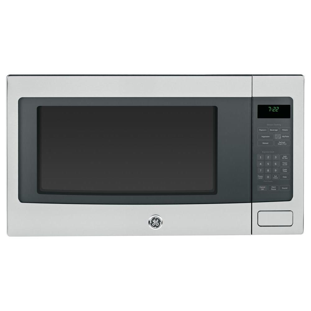 Ge Profile 2 Cu Ft Countertop Microwave In Stainless Steel With Sensor Cooking