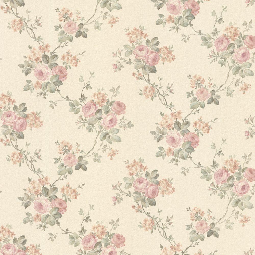 Kristin Blush Rose Trail Wallpaper Sample
