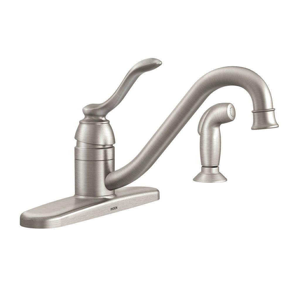 Moen banbury single handle standard kitchen faucet with side sprayer in spot resist stainless