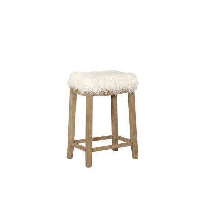 Claridge 2.76 in. White Faux Flokati Counter Stool