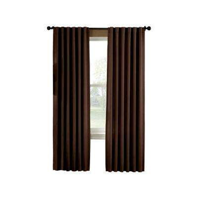 Semi-Opaque Chocolate Saville Thermal Curtain Panel - 52 in. W x 84 in. L