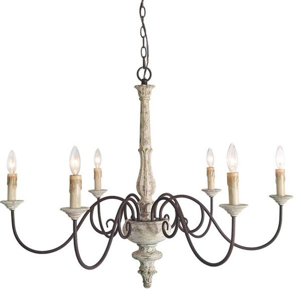 Christmas DIY Choice 6-Light Vintage Wood French Country Adjustable Farmhouse Kitchen Island Candle Chandelier