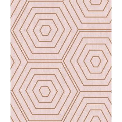 Aztec Pink Foil Hexagons Wallpaper