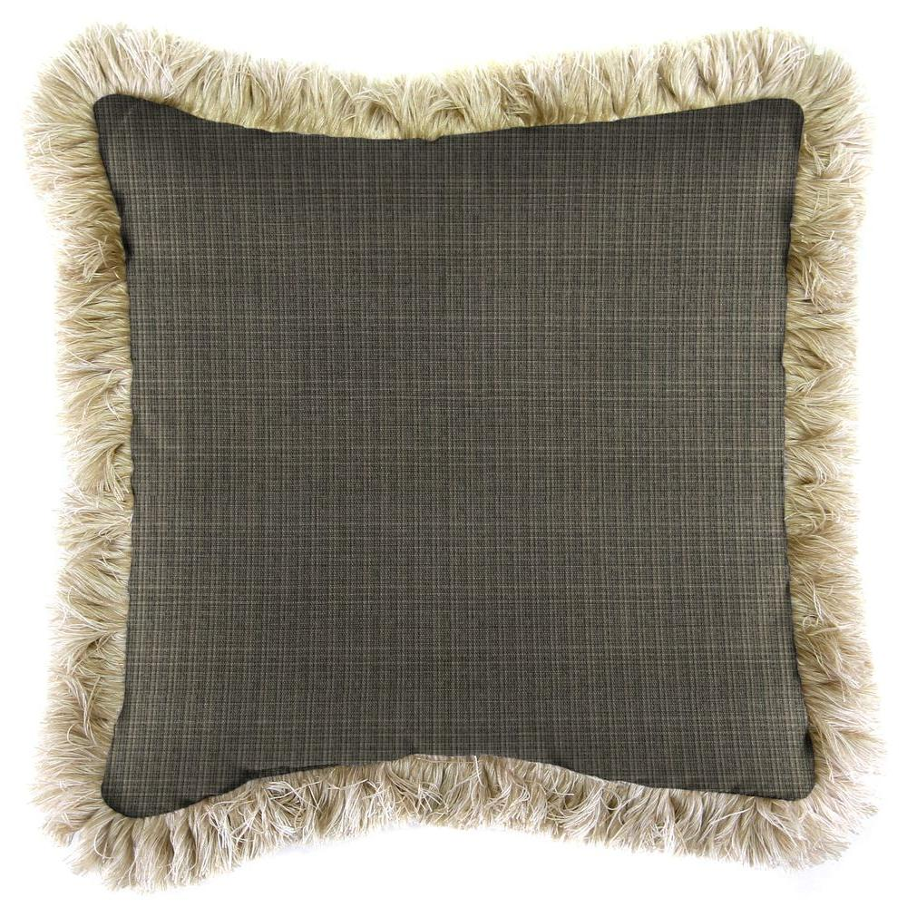 Jordan Manufacturing Sunbrella Surge Charcoal Square Outdoor Throw Pillow with Canvas Fringe
