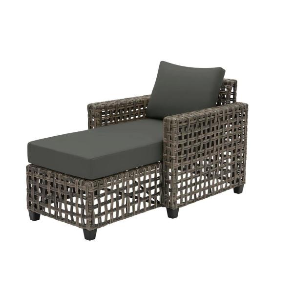 Briar Ridge Brown Wicker Outdoor Patio Chaise Lounge with CushionGuard Graphite Dark Gray Cushions