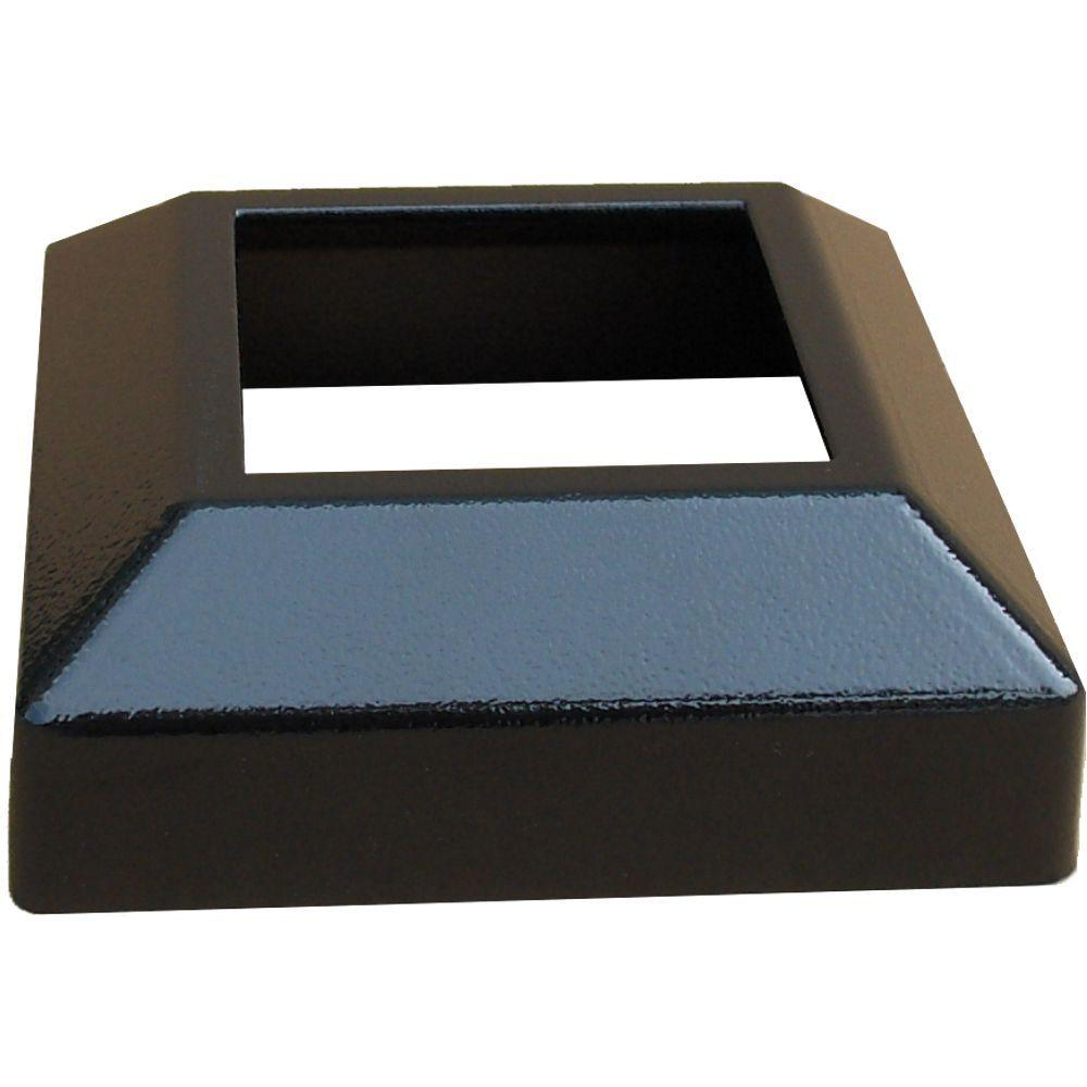 EZ Handrail 3 in. x 3 in. Textured Black Aluminum EZ Post Low Profile Base Cover