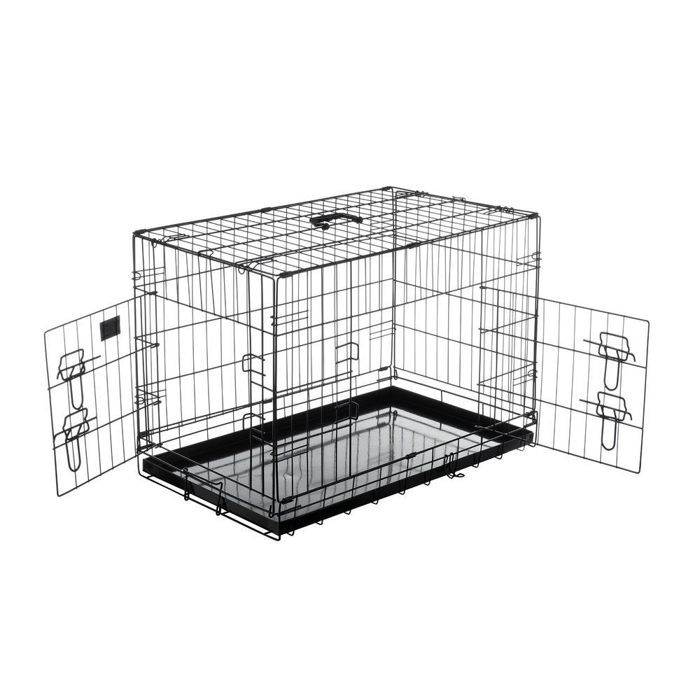35 in. L x 22 in. W 2-Door Folding Pet Crate