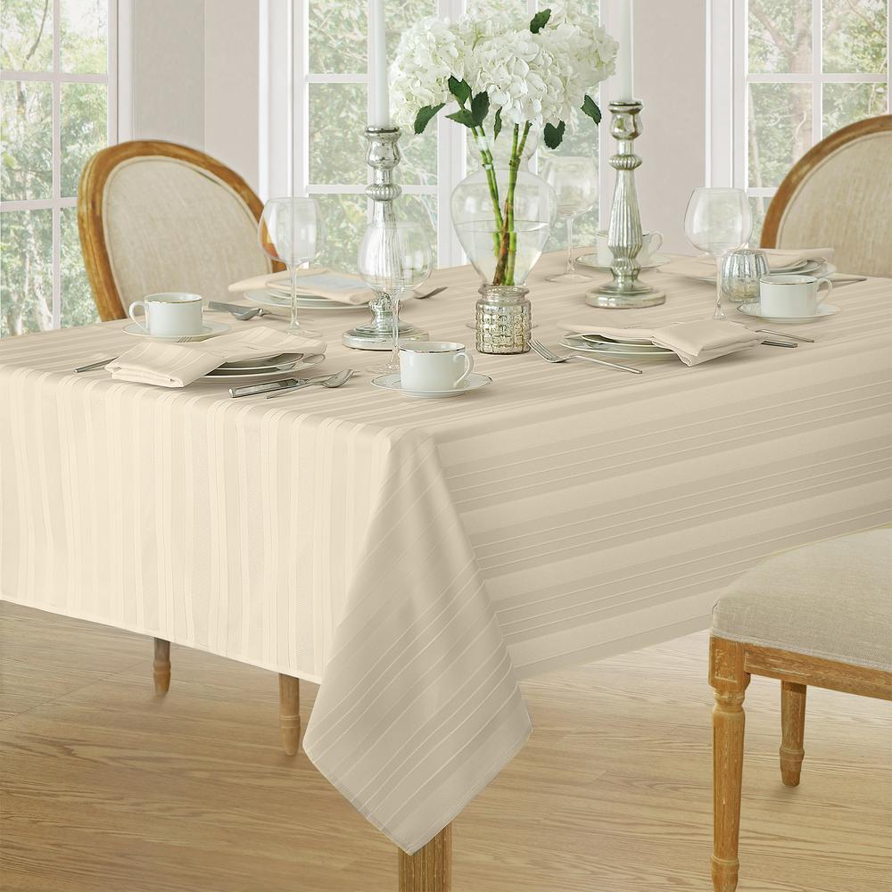 52 in. W x 52 in. L Ivory Elrene Denley Stripe Damask Fabric Tablecloth