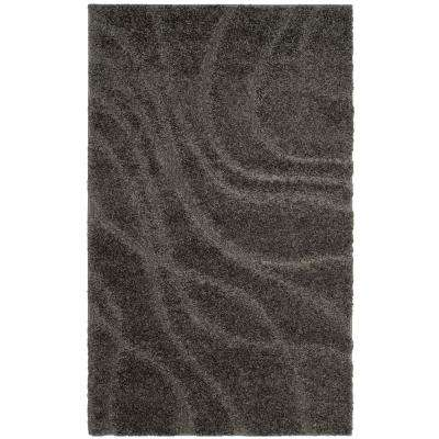 Florida Shag Gray 3 ft. 3 in. x 5 ft. 3 in. Area Rug