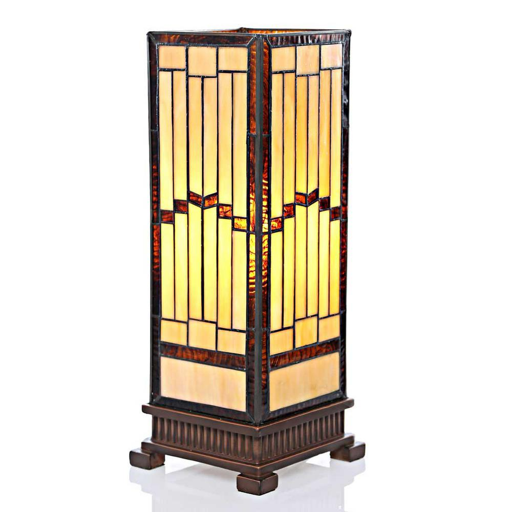 River Of Goods 17 In Amber Hurricane Lamp With Stained Gl Shade