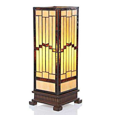 17 in. Amber Hurricane Lamp with Stained Glass Shade