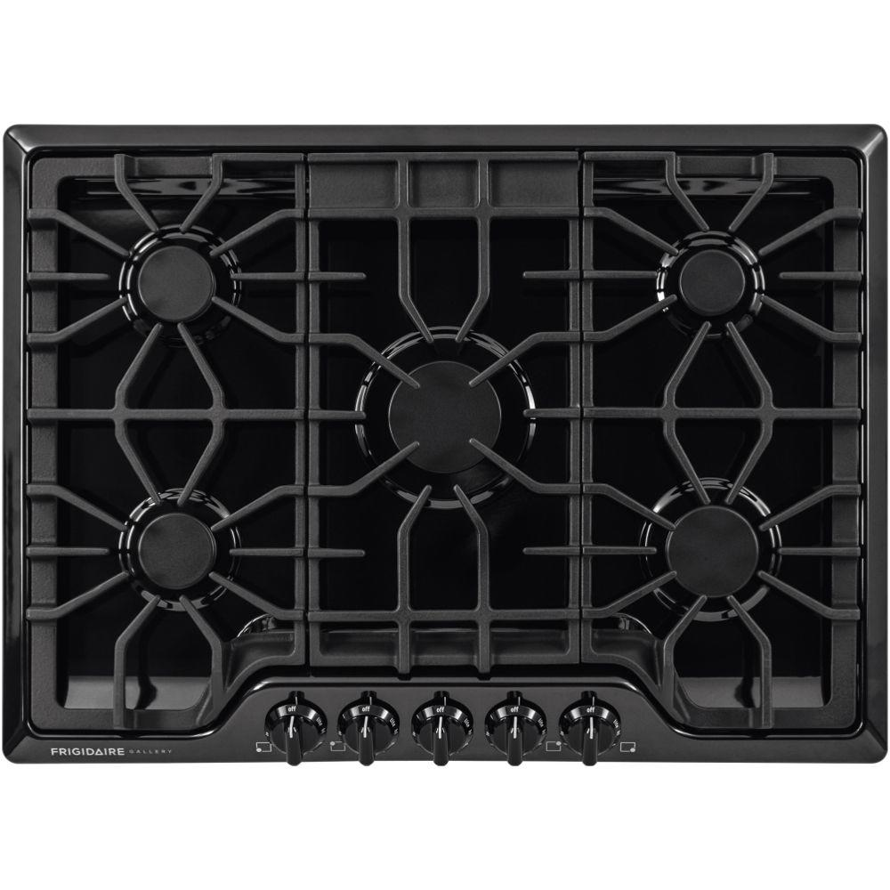 30 In Gas Cooktop Black With 5 Burners