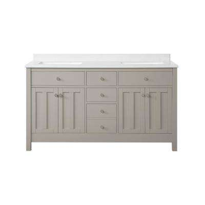 Hillside 60 in. Bath Vanity in Sharky Gray with Cultured Marble Vanity Top in White with White Basins