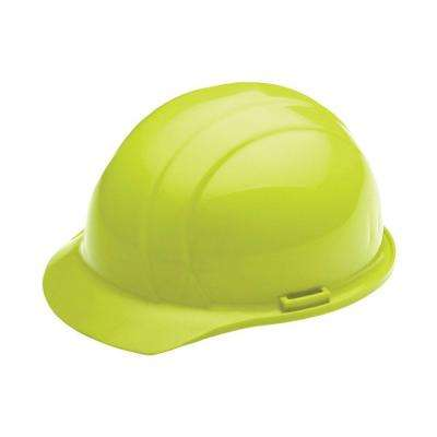 4 Point Nylon Suspension Slide-Lock Cap Hard Hat in Hi Viz Lime