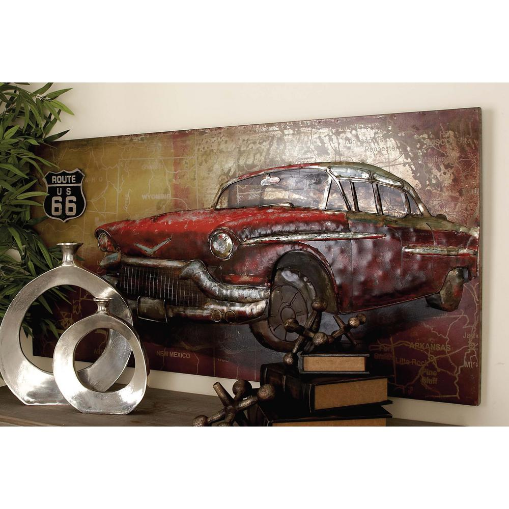 Rustic Iron Vintage Car And Route 66 Wall Art