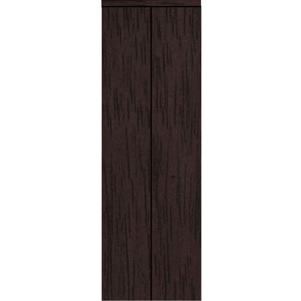 Impact Plus 24 in. x 80 in. Smooth Flush Solid Core Espresso MDF Interior Closet Bi-Fold Door with Matching Trim