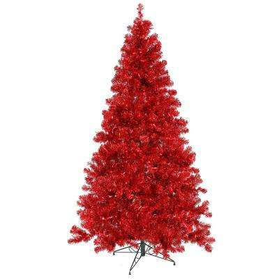 6 ft. x 44 in. Pre-Lit Sparkling Red Artificial Christmas Tree Red Lights