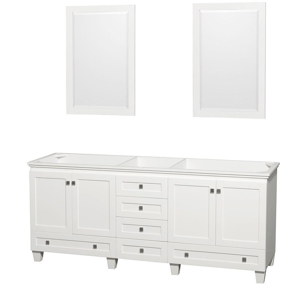 Acclaim 80 in. Double Vanity Cabinet with 2 Mirrors in White