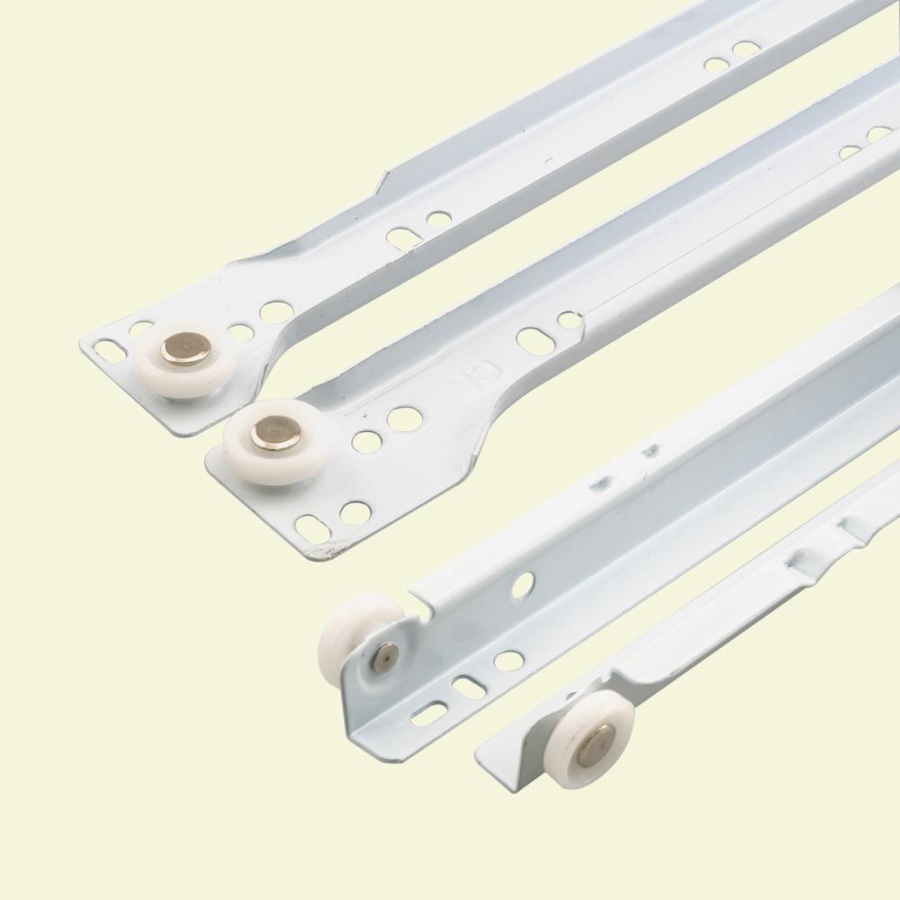 15 3/4 in., White Powder Coated Steel, Metal Drawer Slides