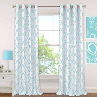 Candice 52 in. W x 95 in. L Polyester Single Blackout Window Curtain Panel in Aqua