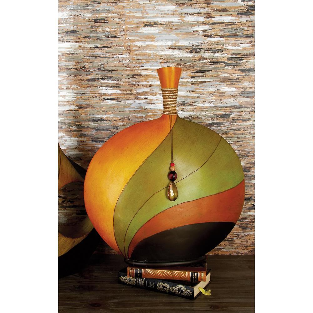 20 in. Modern Earthtone Colors Polystone Swirl Decorative Vase