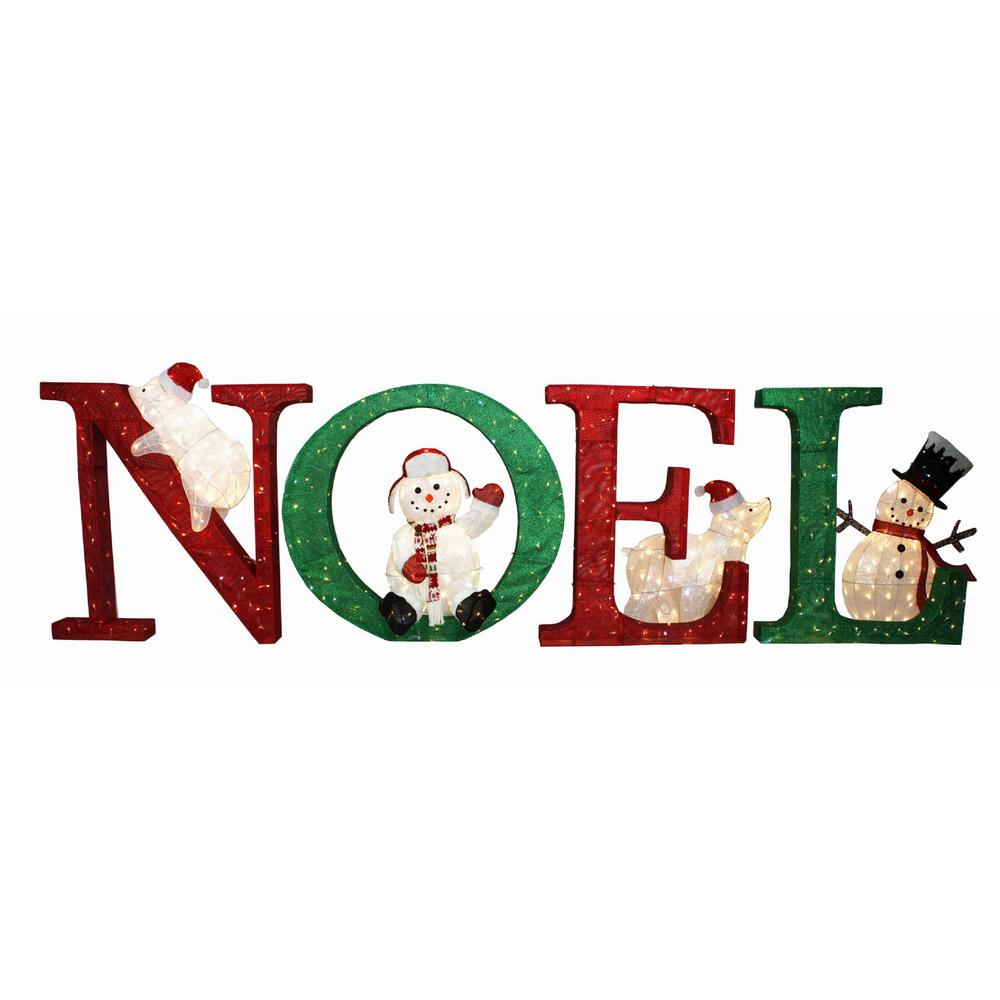 Home Accents Holiday 48 in. Christmas Noel with Polar Bear/Snowman