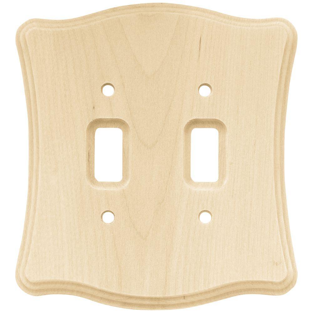 Liberty Wood Scalloped 2 Toggle Switch Wall Plate - Un-Finished Wood