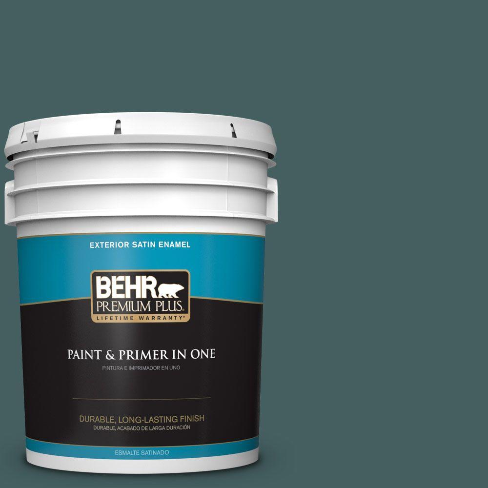 BEHR Premium Plus 5-gal. #BXC-15 Green Mallard Satin Enamel Exterior Paint