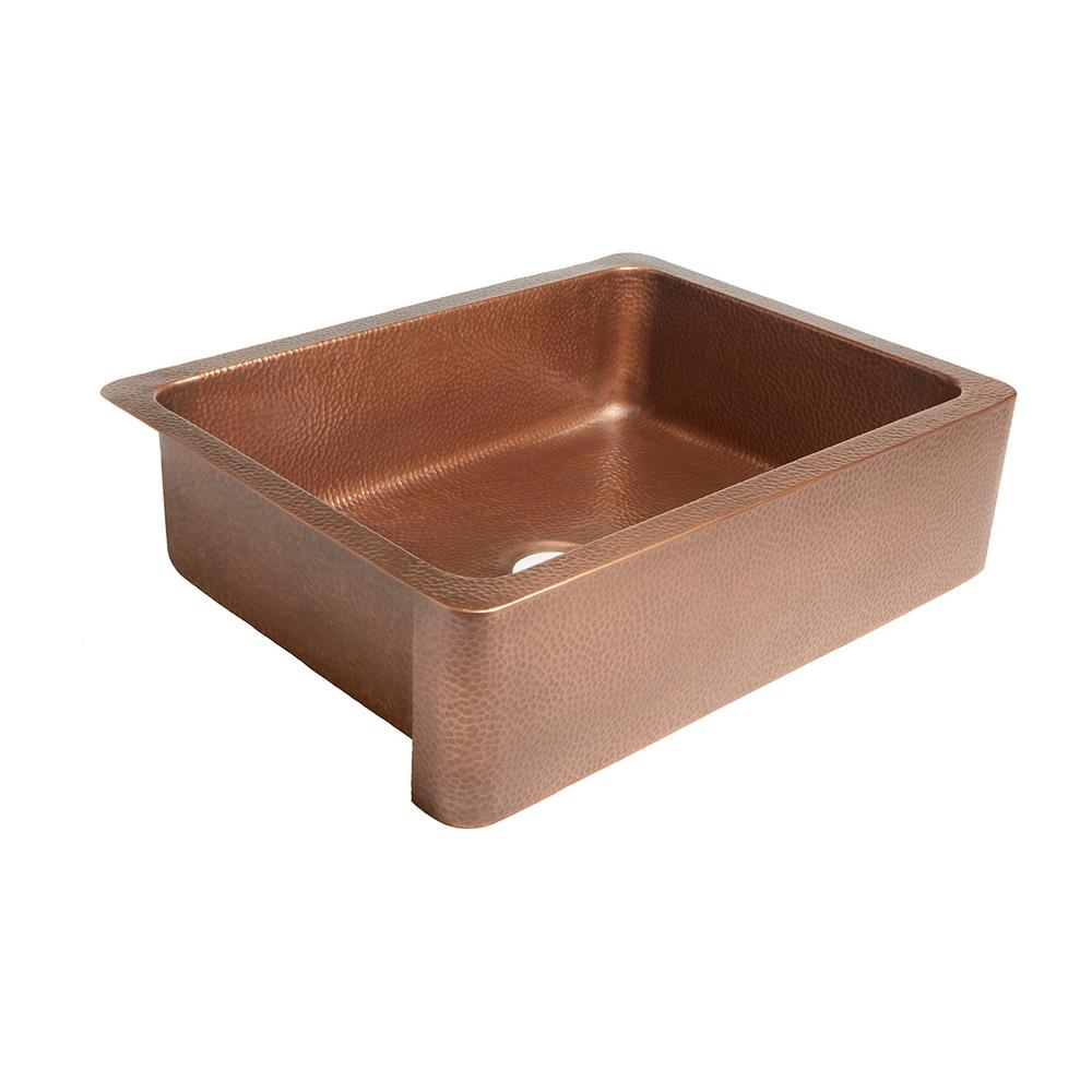 SINKOLOGY Courbet Farmhouse/Apron-Front Handmade Pure Solid Copper 30 in. Single Bowl Kitchen Sink in Antique Copper