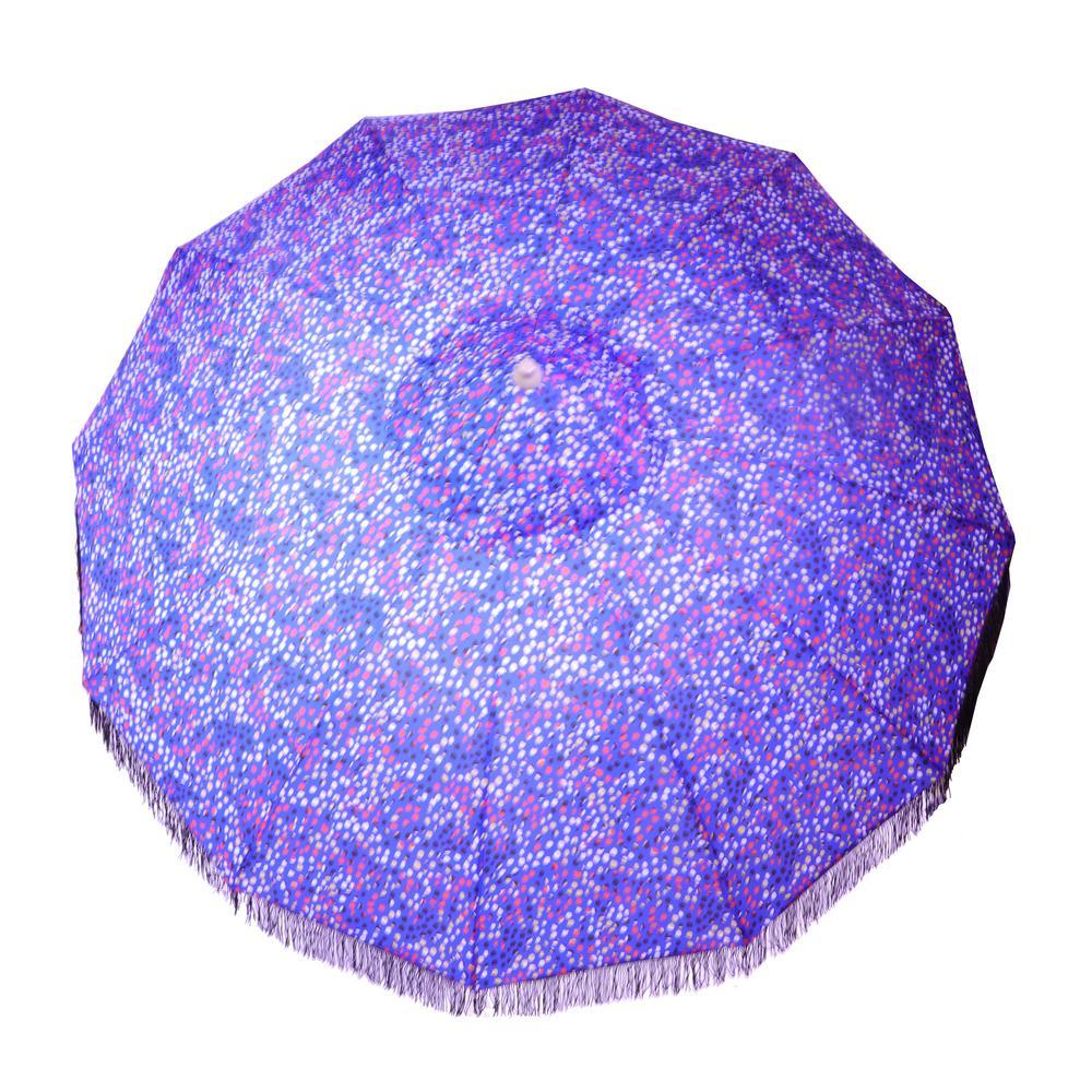 9 ft. Market Tilt Patio Umbrella in Cobalt Dot with Fringe