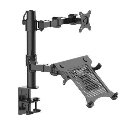 2-in-1 Dual Monitor Arm Desk Mount Laptop Stand Fits 10 in. - 27 in. LCD Screens Clamp 22 lbs. Each Monitor