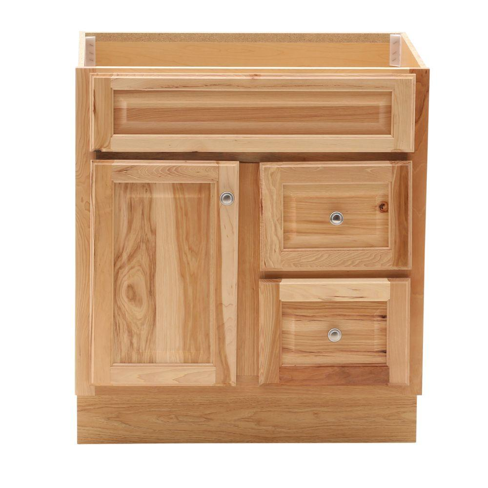 Glacier bay hampton 30 in w x 21 in d x 33 5 in h bath vanity cabinet only in natural hickory for Unfinished bathroom vanities and cabinets