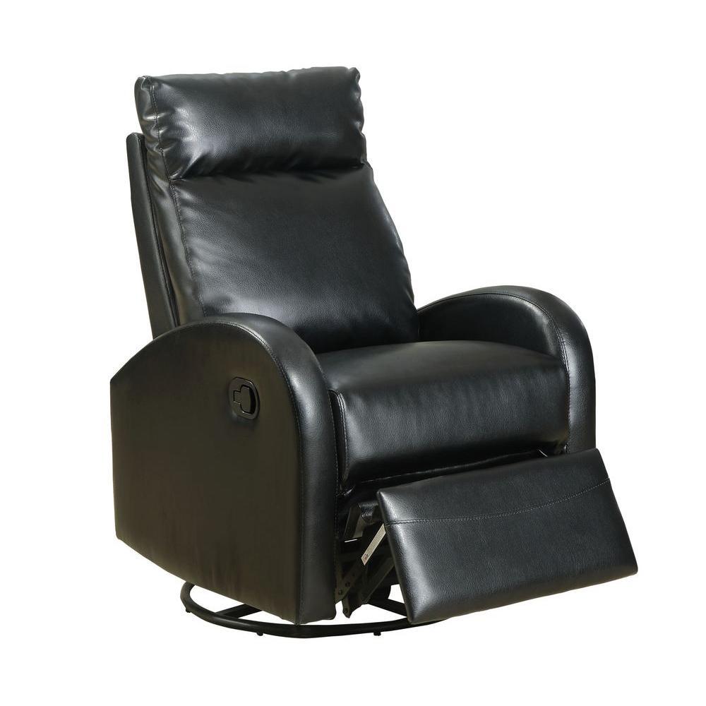 Monarch Specialties Bonded Leather Swivel Rocker Recliner in Black